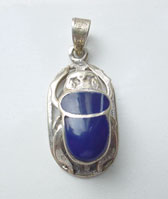 Egyptian Silver Scarab Pendant - Scarab Jewelry