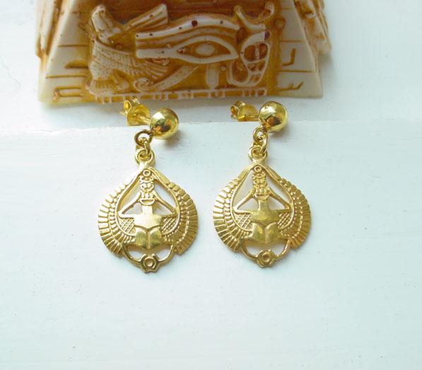 Gold Scarab Earrings Egyptian Jewelry