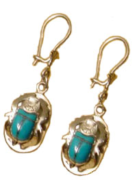 Silver Scarab Earrings